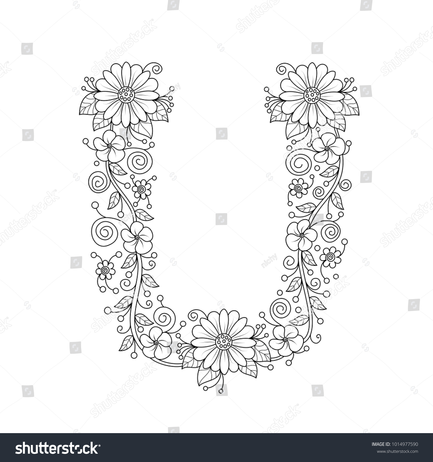 Floral Alphabet Letter U Coloring Book Stock Vector (Royalty Free ...