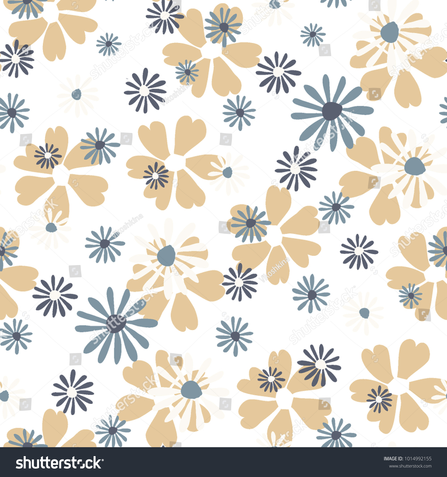 Small Floral Pattern Cute Daisy Flowers And Violets For Seamless