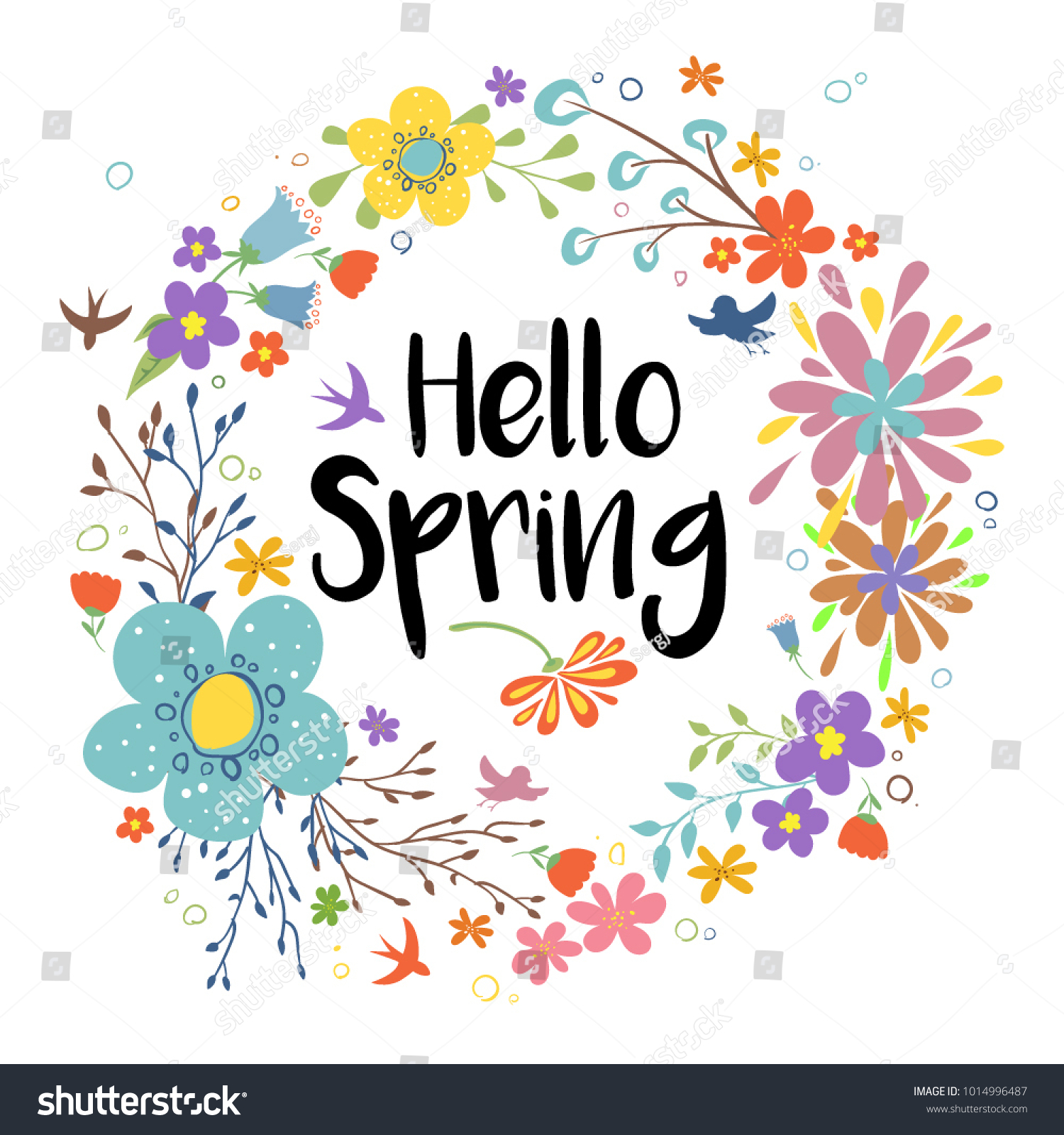 hello spring vector illustration floral spring stock vector (royalty free)  1014996487  shutterstock