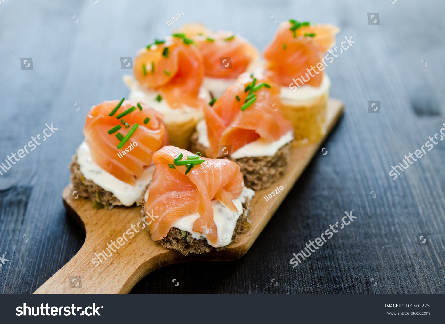 Canapes smoked salmon cream cheese stock photo 101500228 for Cream cheese canape