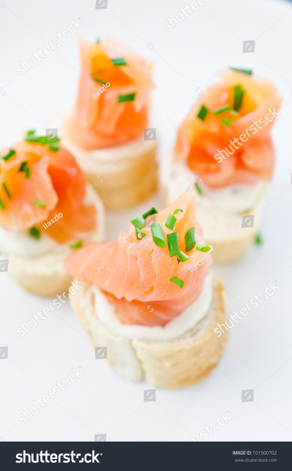 Canapes smoked salmon cream cheese stock photo 101500702 for Cream cheese canape