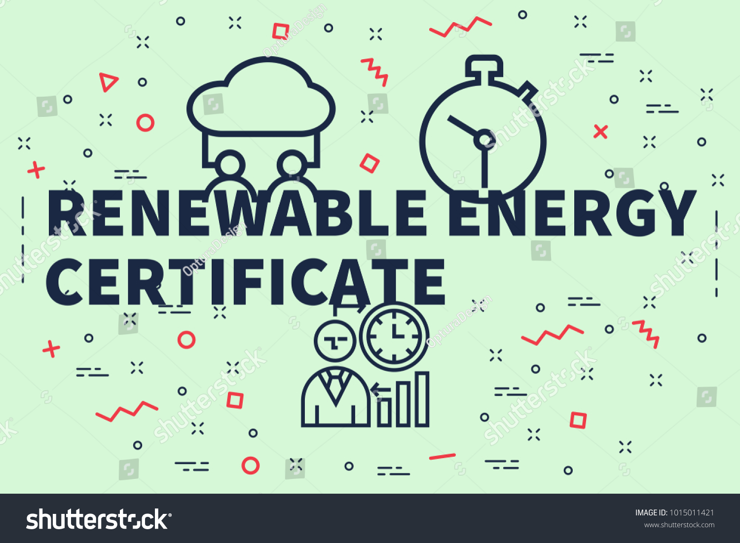Conceptual Business Illustration Words Renewable Energy Stock