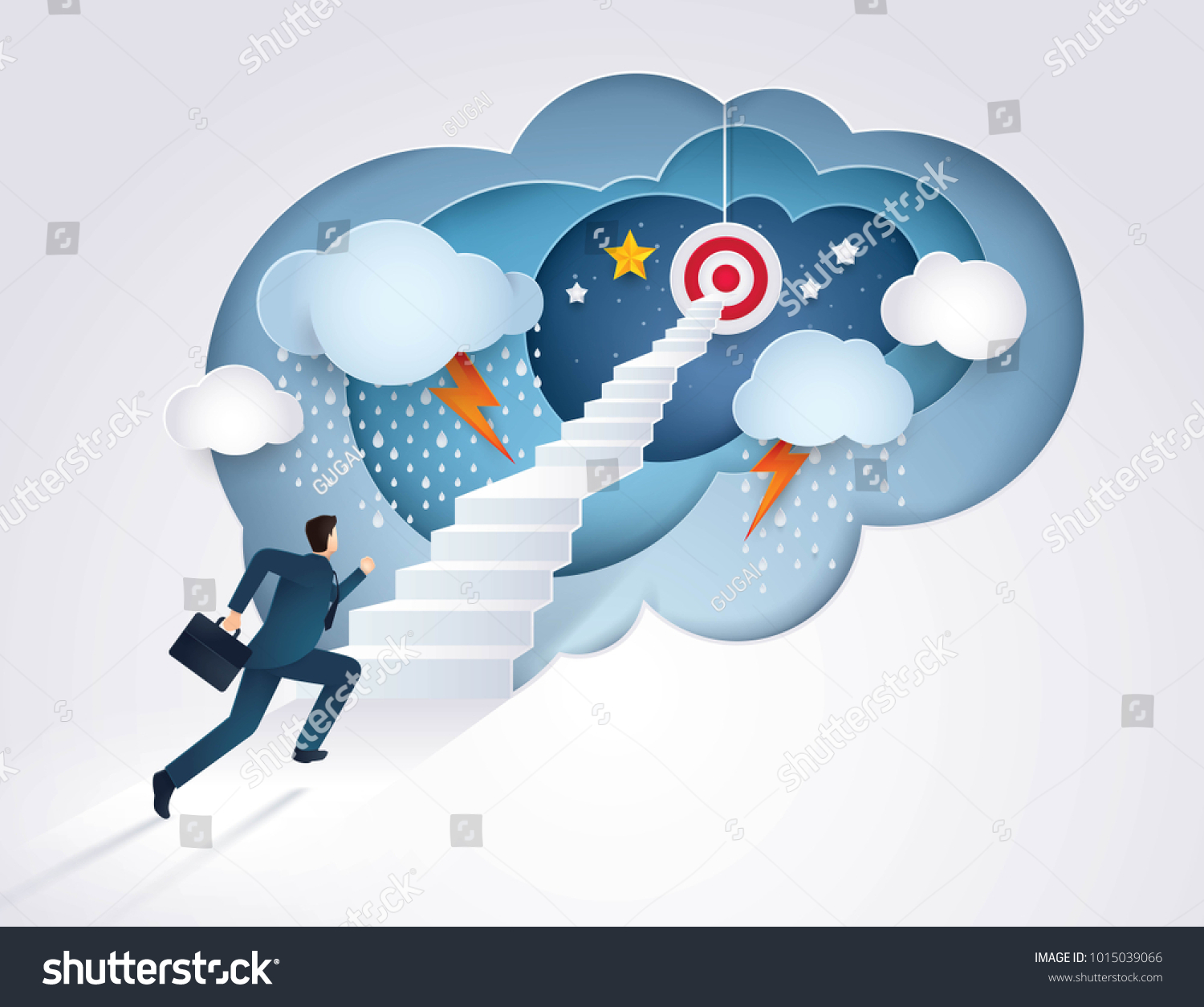 Businessman running up stairway to the target, Challenge, Trouble, obstacles, Path to the goal, Business concept growth to success, Creative ideas, Reach the target, Paper art vector and illustration