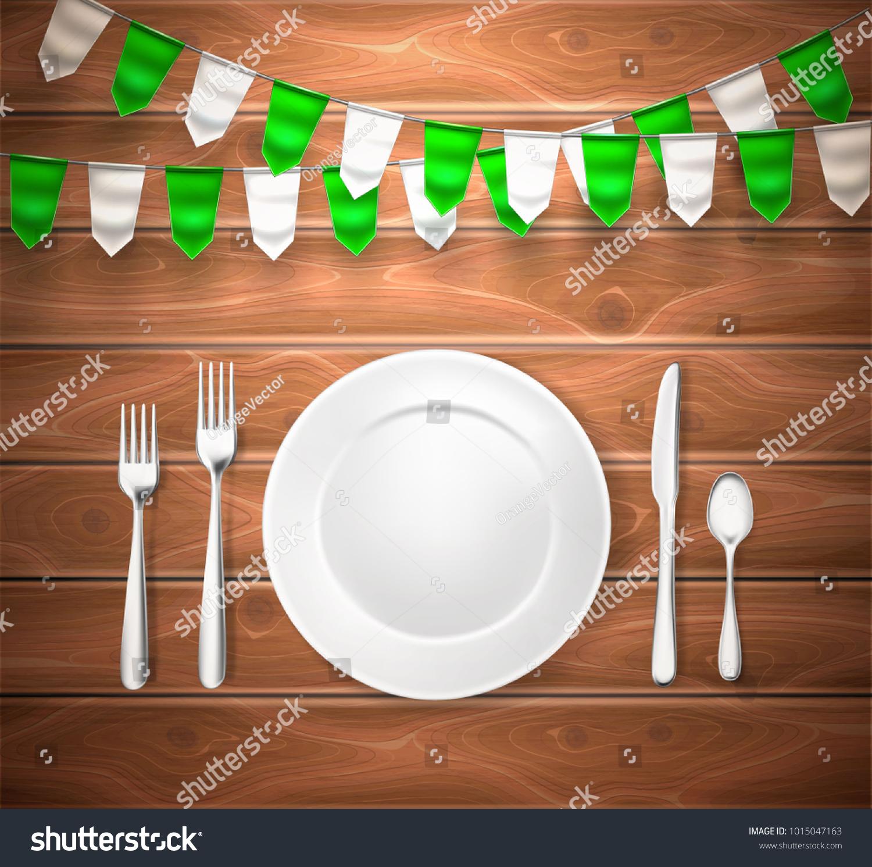Realistic Table Setting Arrangement 3 D Cutlery Stock Vector ...