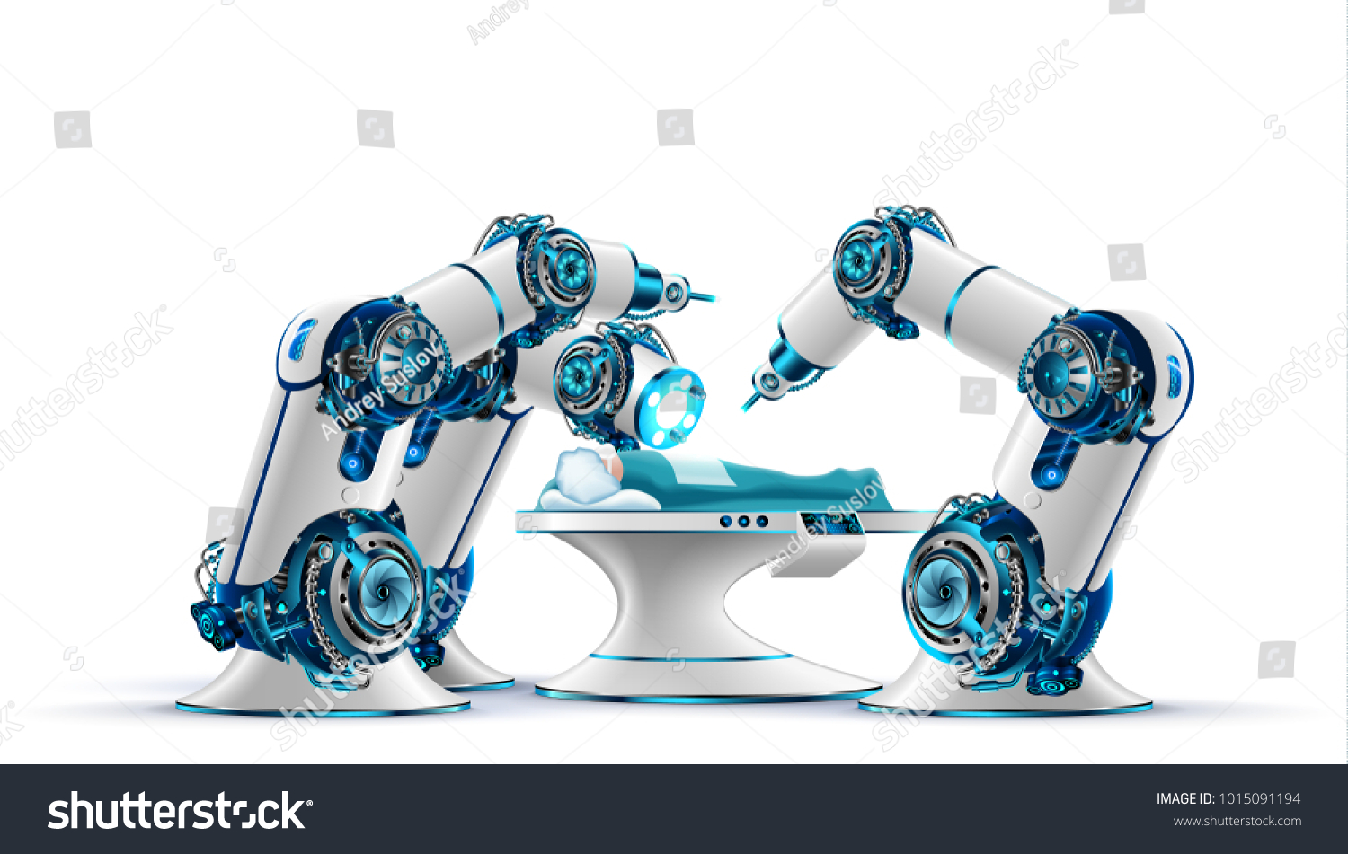 Robotic Surgery Robot Surgeon Makes Surgery Stock Illustration ...