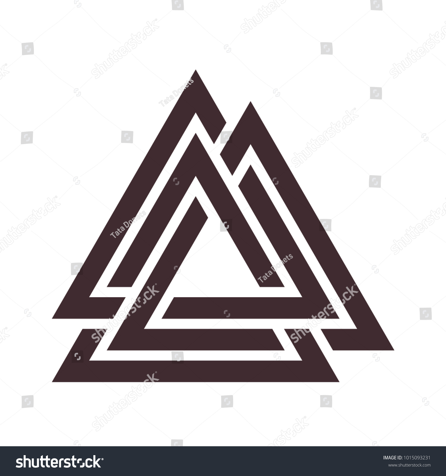 Vector Triangle Illustration Valknut Symbol Germanic Stock Vector