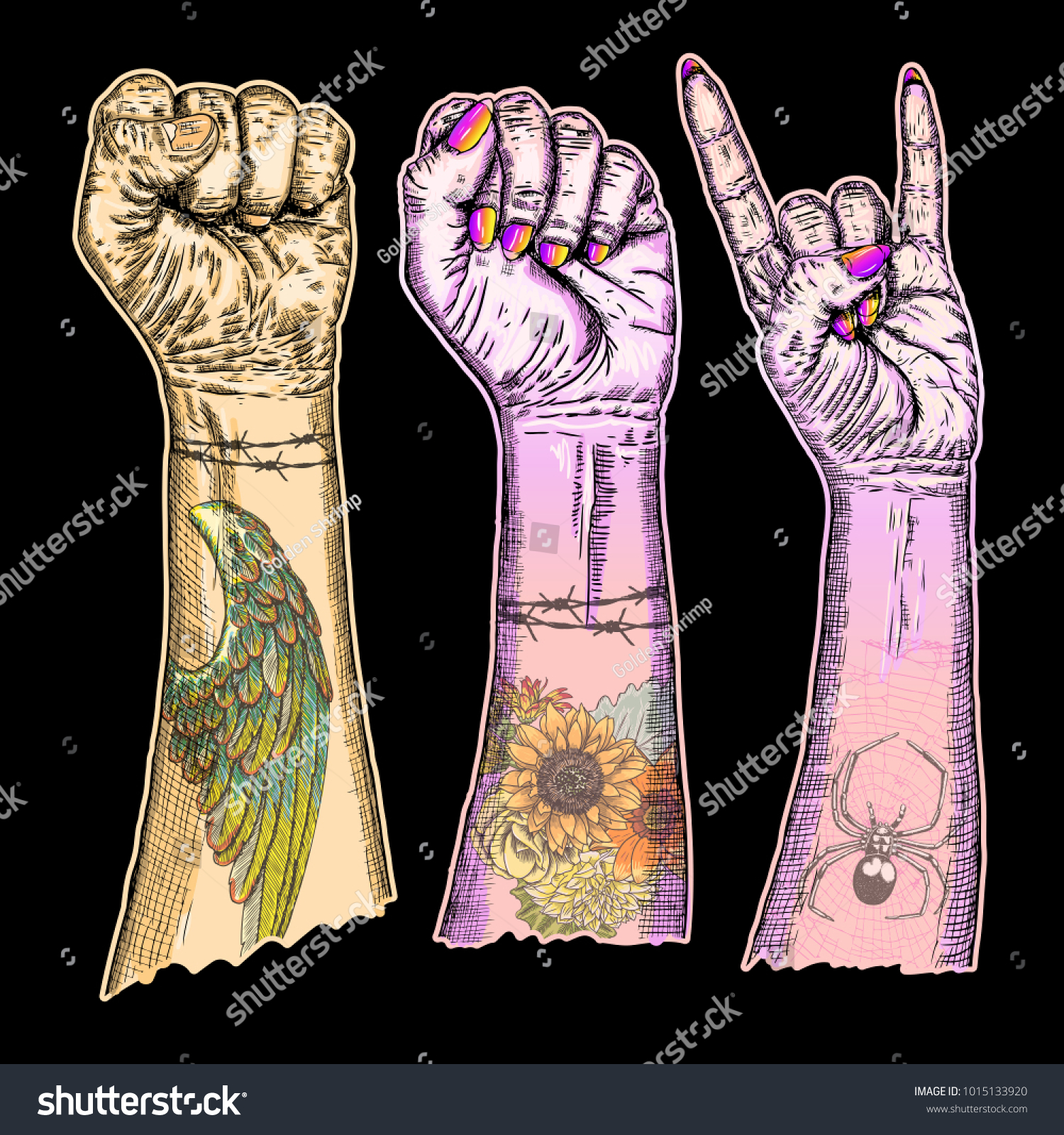 Set rock roll music hand sign stock illustration 1015133920 set of rock and roll music hand sign hand drawn girl and guy style fist biocorpaavc Gallery