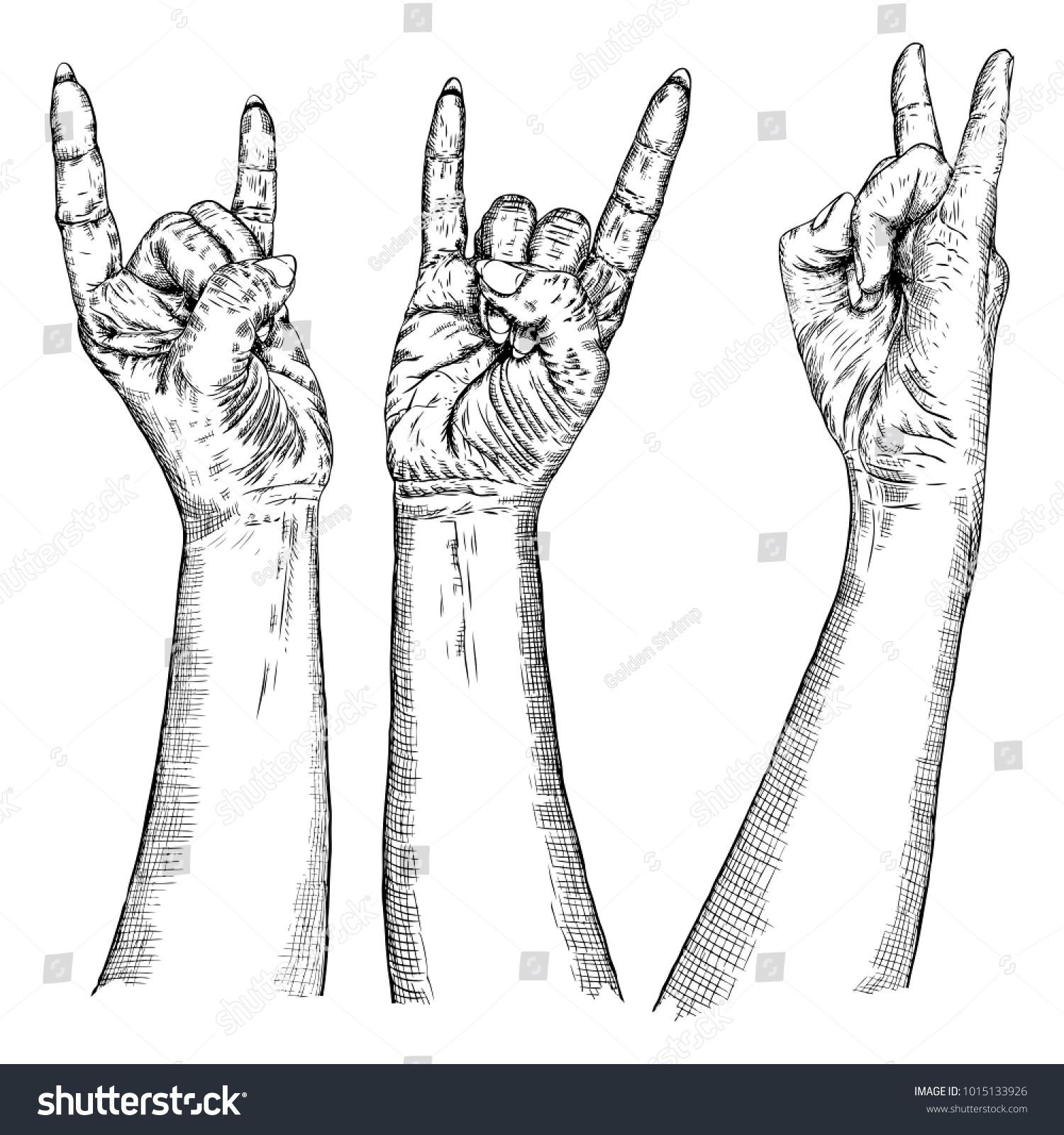 Male Female Hand Sign Set Hand Stock Illustration 1015133926