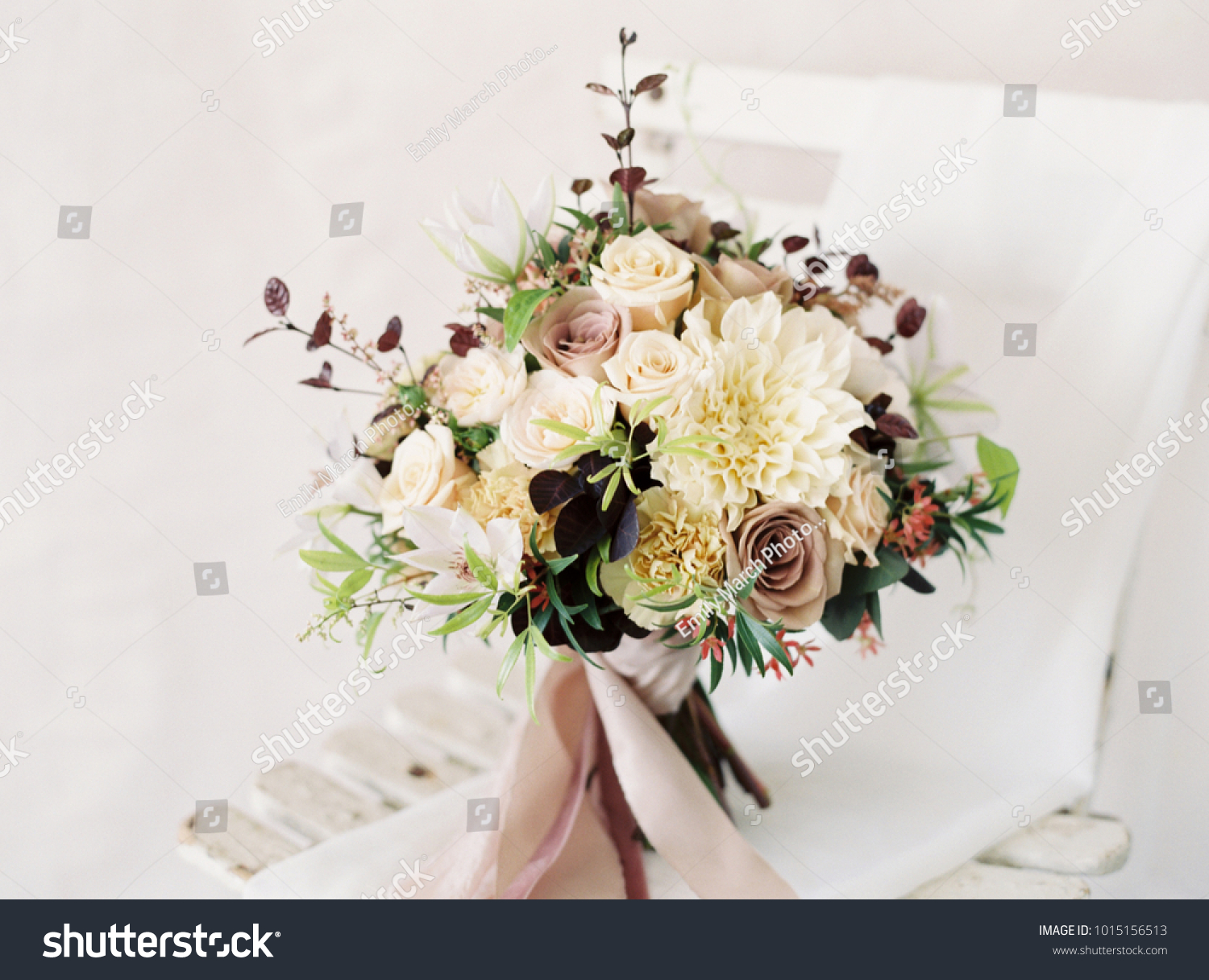 Muted Wedding Bouquet Pink Purple Flowers Stock Photo Edit Now