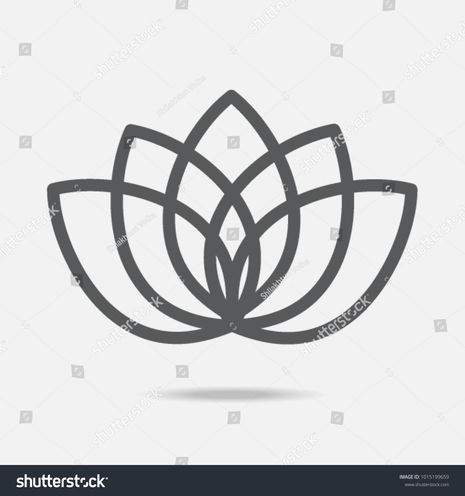 Lotus Flower Icon Line Art Stock Vector Royalty Free 1015199659