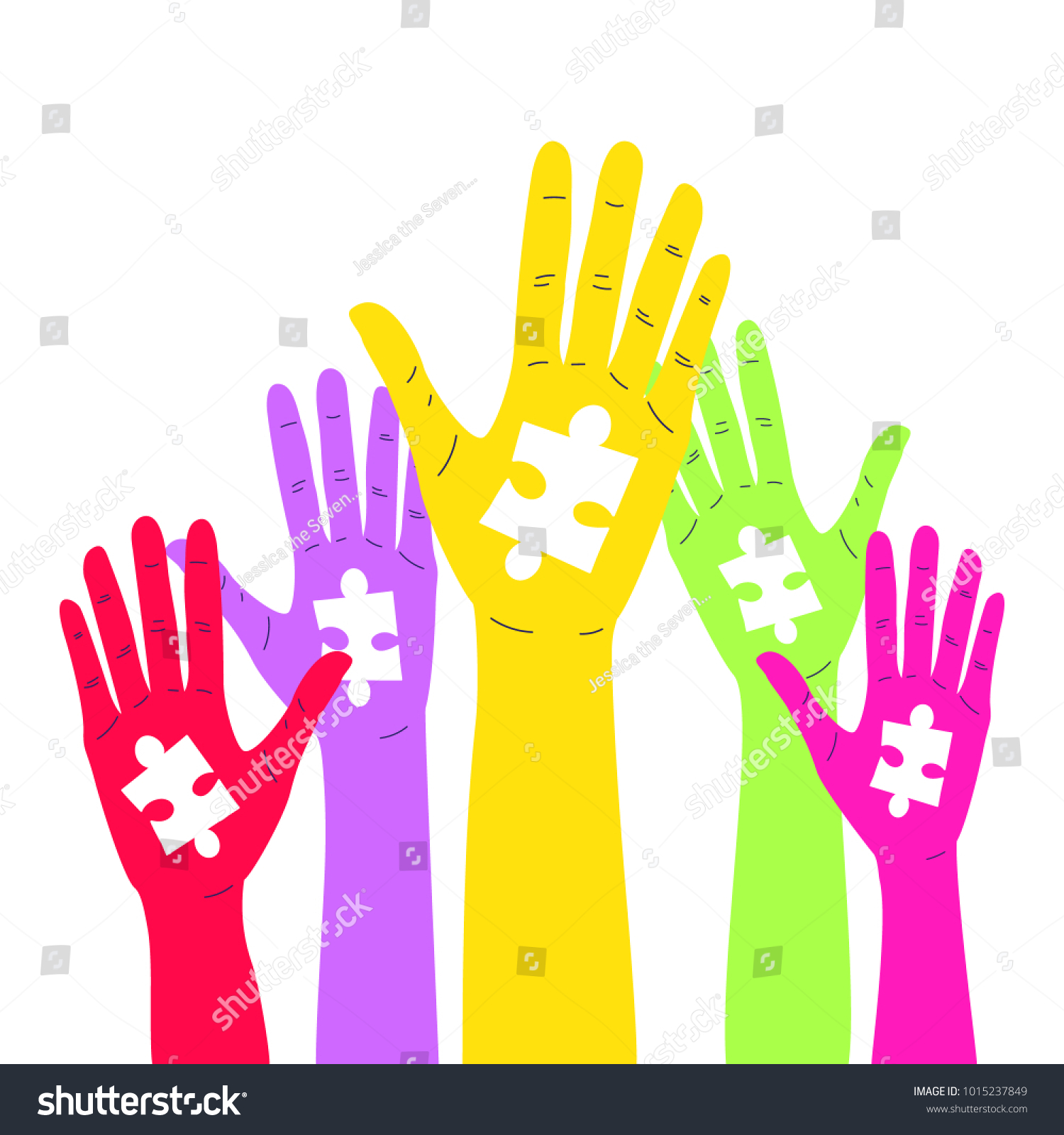 Autism Awareness Concept Colorful Hands Puzzle Stock Photo Photo