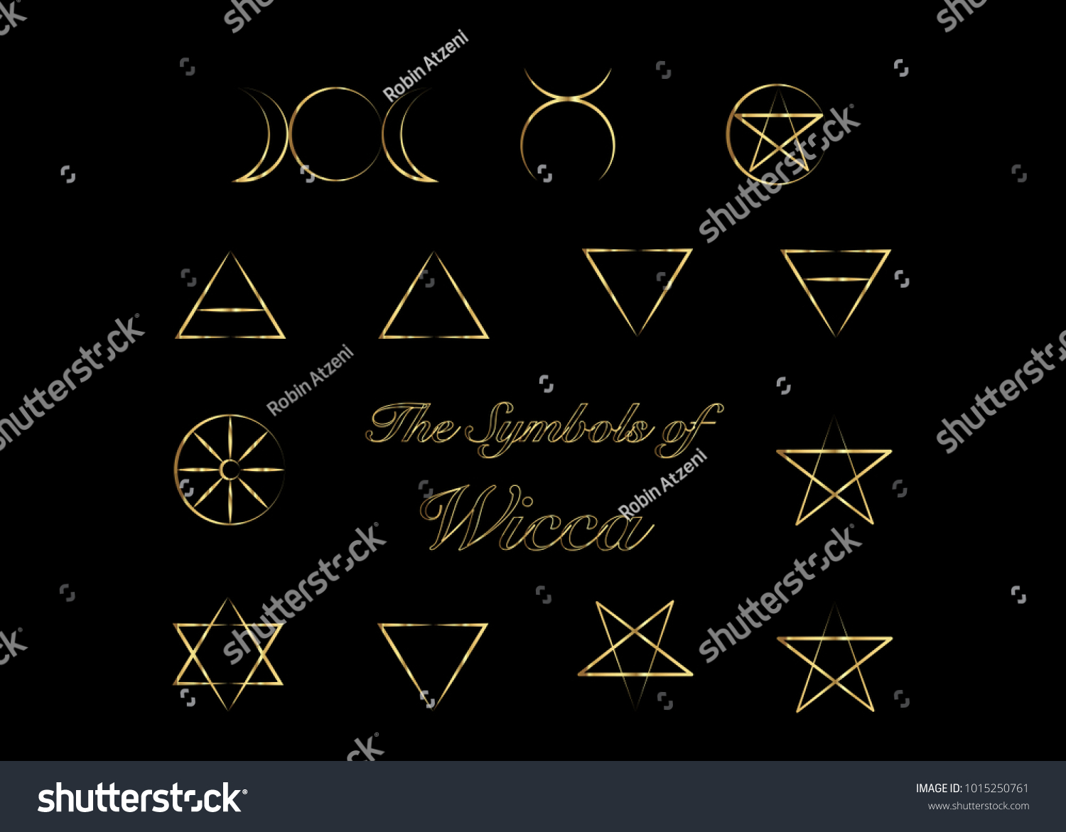 Golden Set Witches Runes Wiccan Divination Stock Vector Royalty