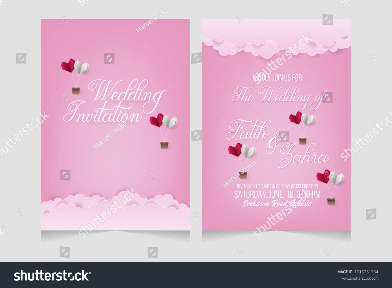Wedding invitation wedding card wedding invitation stock vector wedding invitation wedding card wedding invitation template with heart shape origami paper art stopboris Images