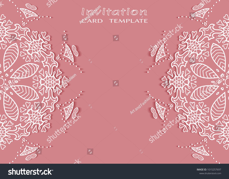 Invitation or Card template with lace mandala border, cutout paper ...