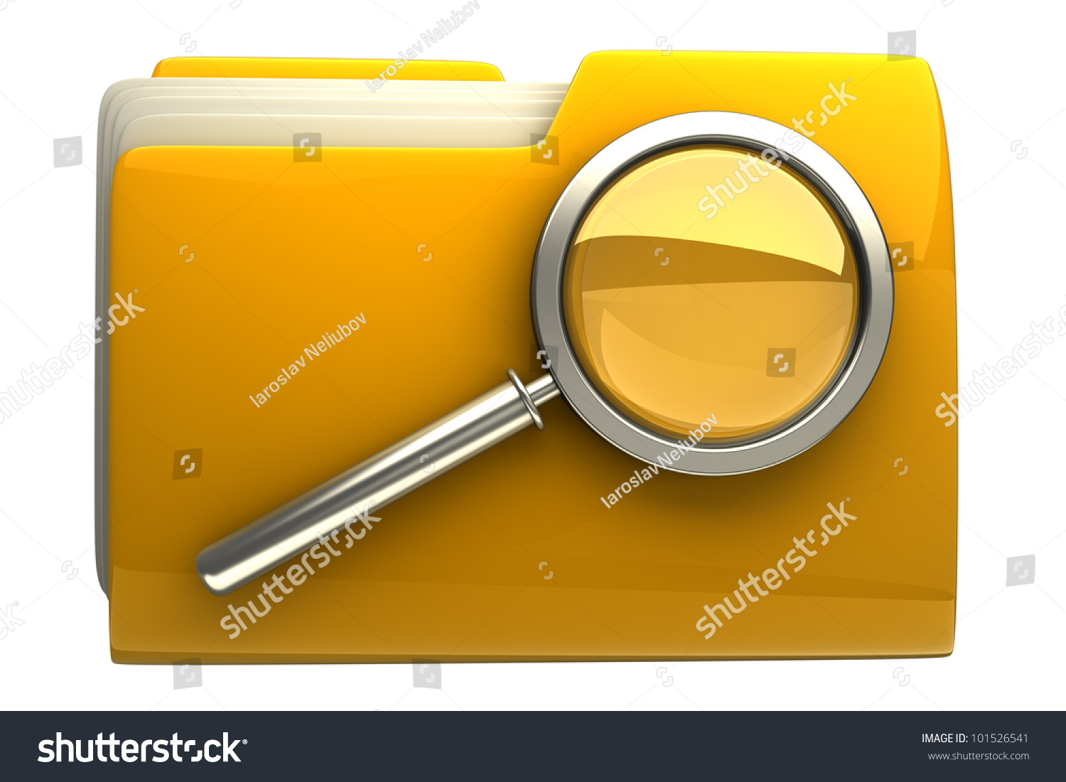 Folder And File Search With Magnifying Glass. 3d Icon