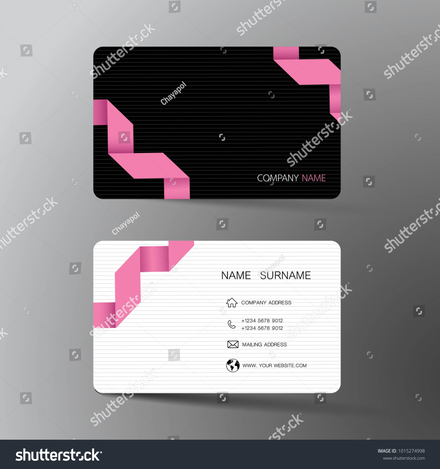 Pink Black Business Card Template Design Stock Vector HD (Royalty ...