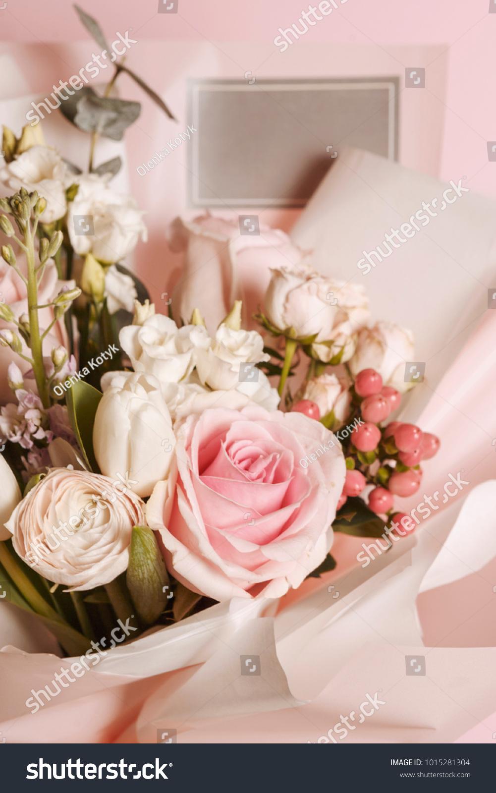 Peonies Ranunculus Flower Bouquet Gift Card Stock Photo Edit Now 1015281304