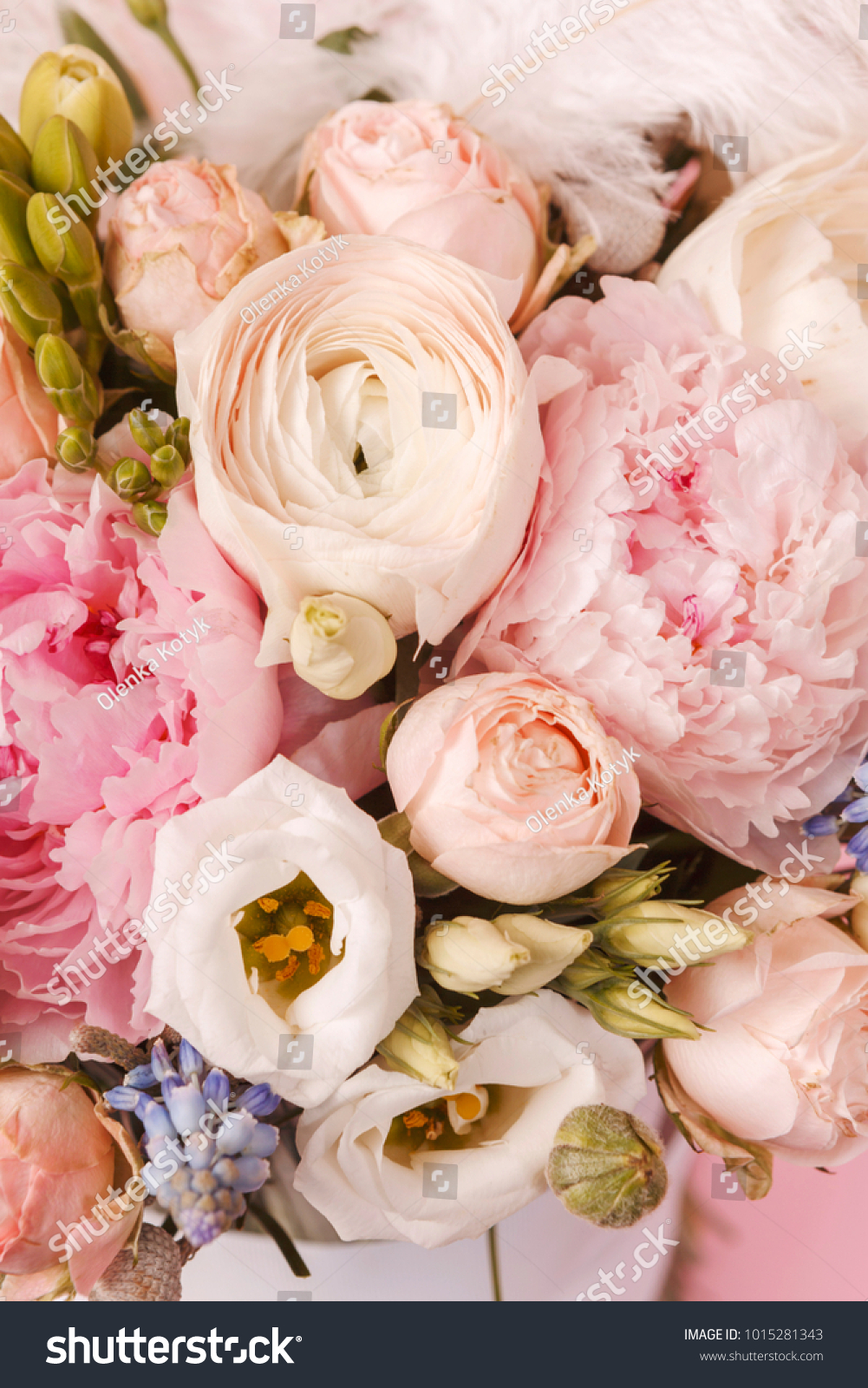 Peonies Ranunculus Flower Bouquet Feather On Stock Photo Edit Now 1015281343