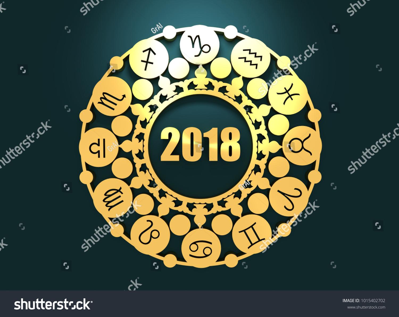 Astrological symbols circle decorative ornanet 3d stock illustration astrological symbols in the circle decorative ornanet 3d rendering 2018 year number biocorpaavc Images