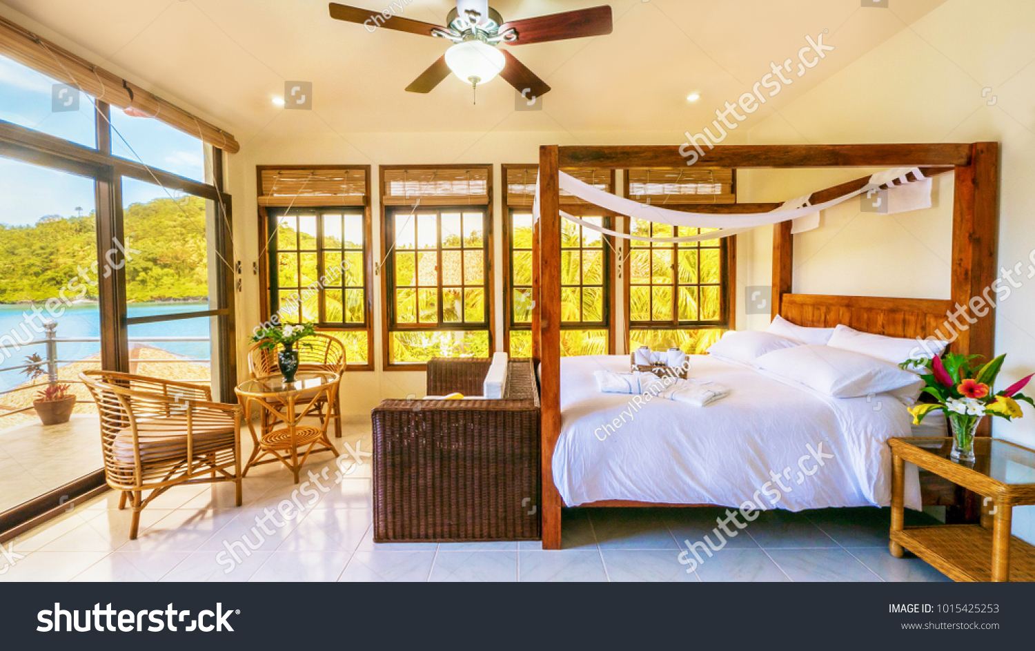 Light Airy Tropical Resort Luxurious Bedroom Stock Photo Edit Now 1015425253