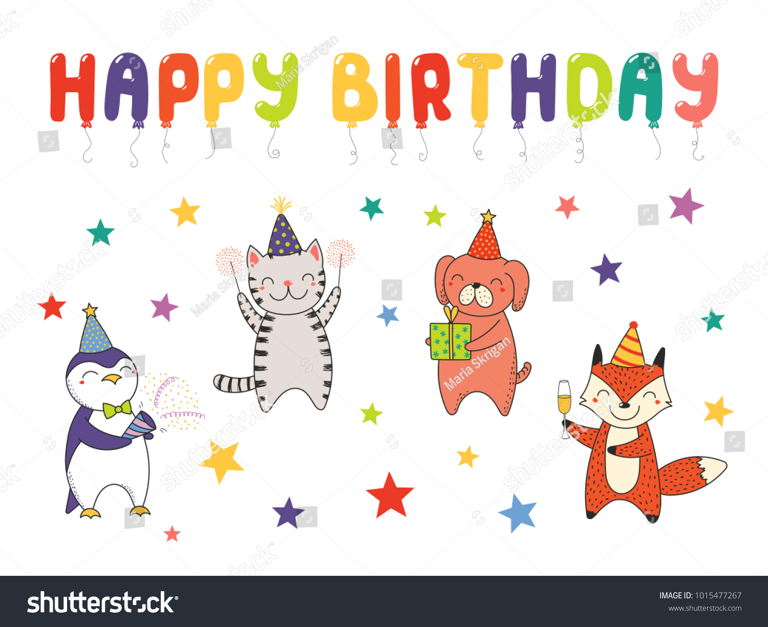 Hand Drawn Happy Birthday Greeting Card Banner Template With Cute
