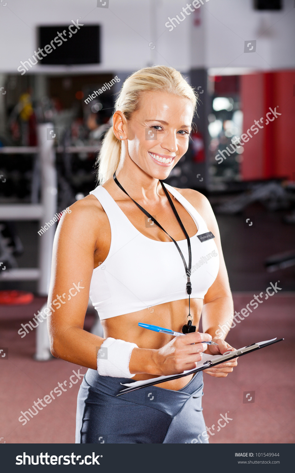 Happy Female Gym Instructor Portrait Stock Photo 101549944 ...