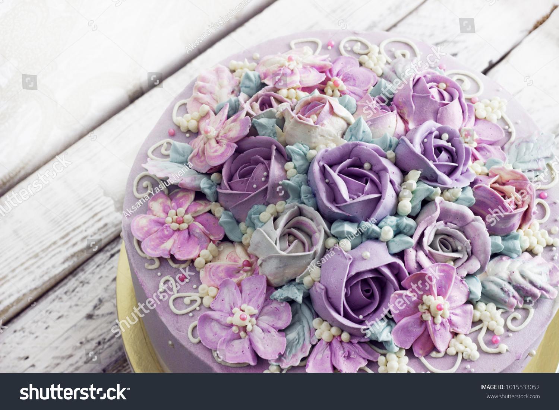 Birthday Cake Flowers Rose On White Stock Photo Edit Now