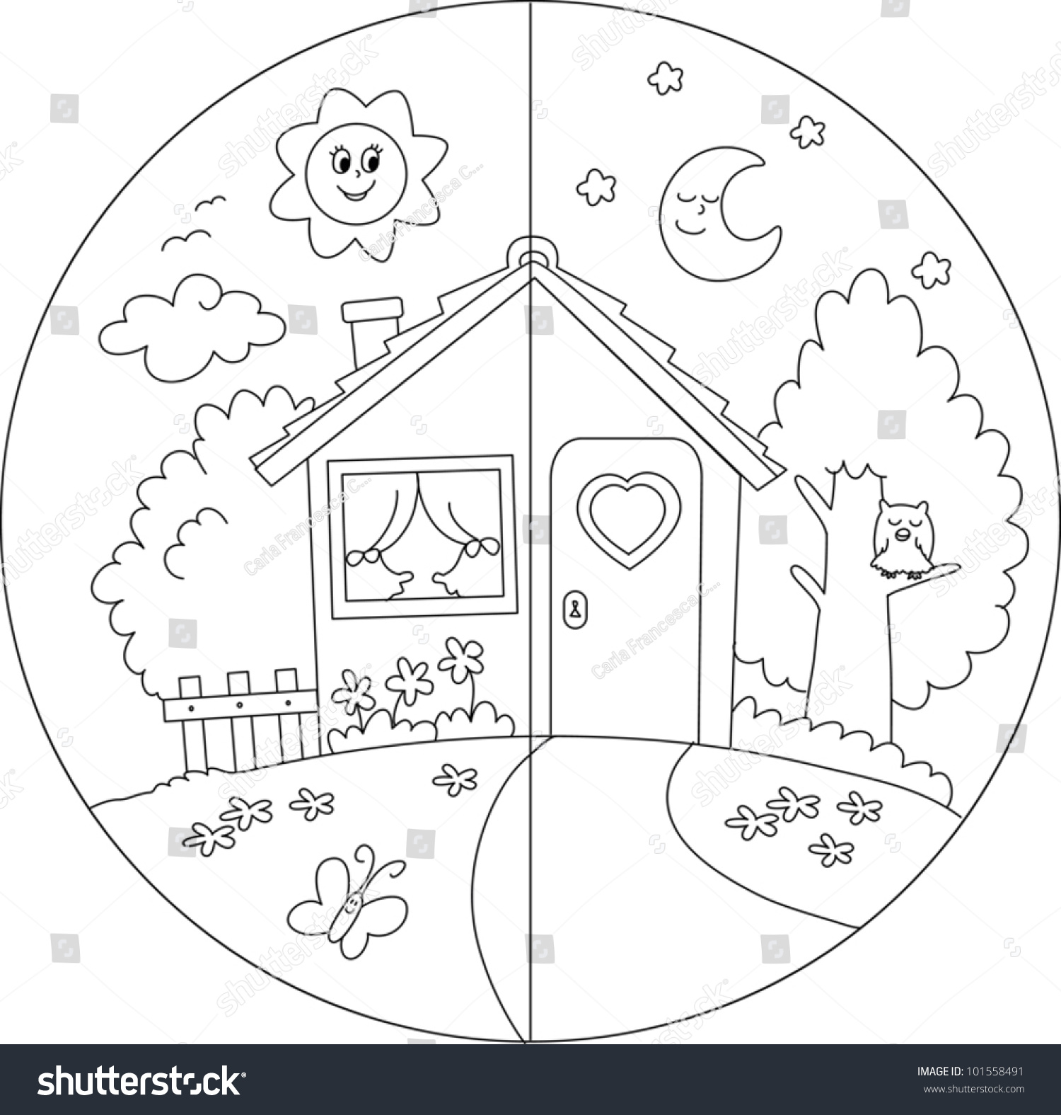 night day view cartoon country house stock vector 101558491 shutterstock. Black Bedroom Furniture Sets. Home Design Ideas