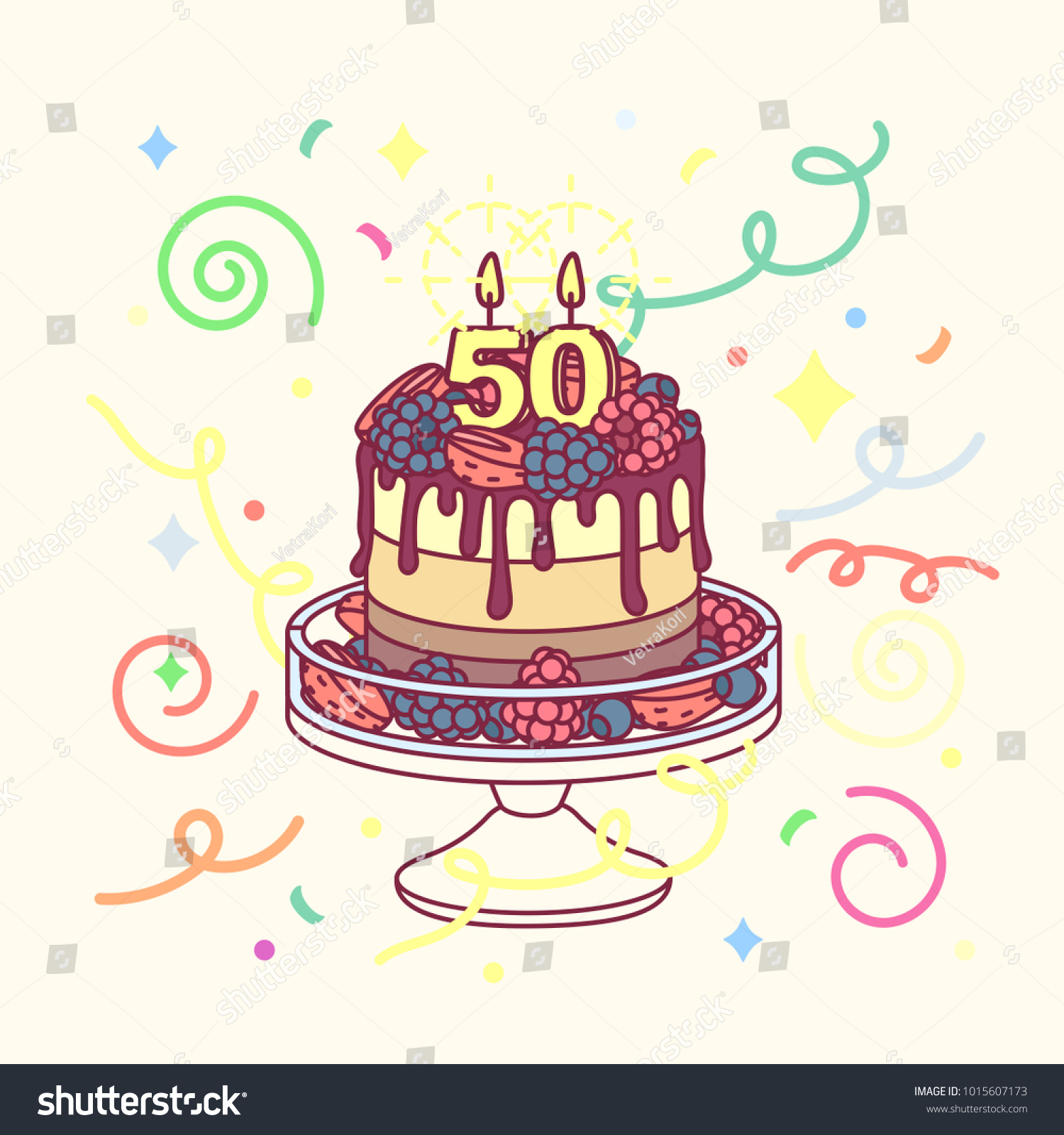 Vector Birthday Cake Candle 50 Cakestand Stock Vector Royalty Free