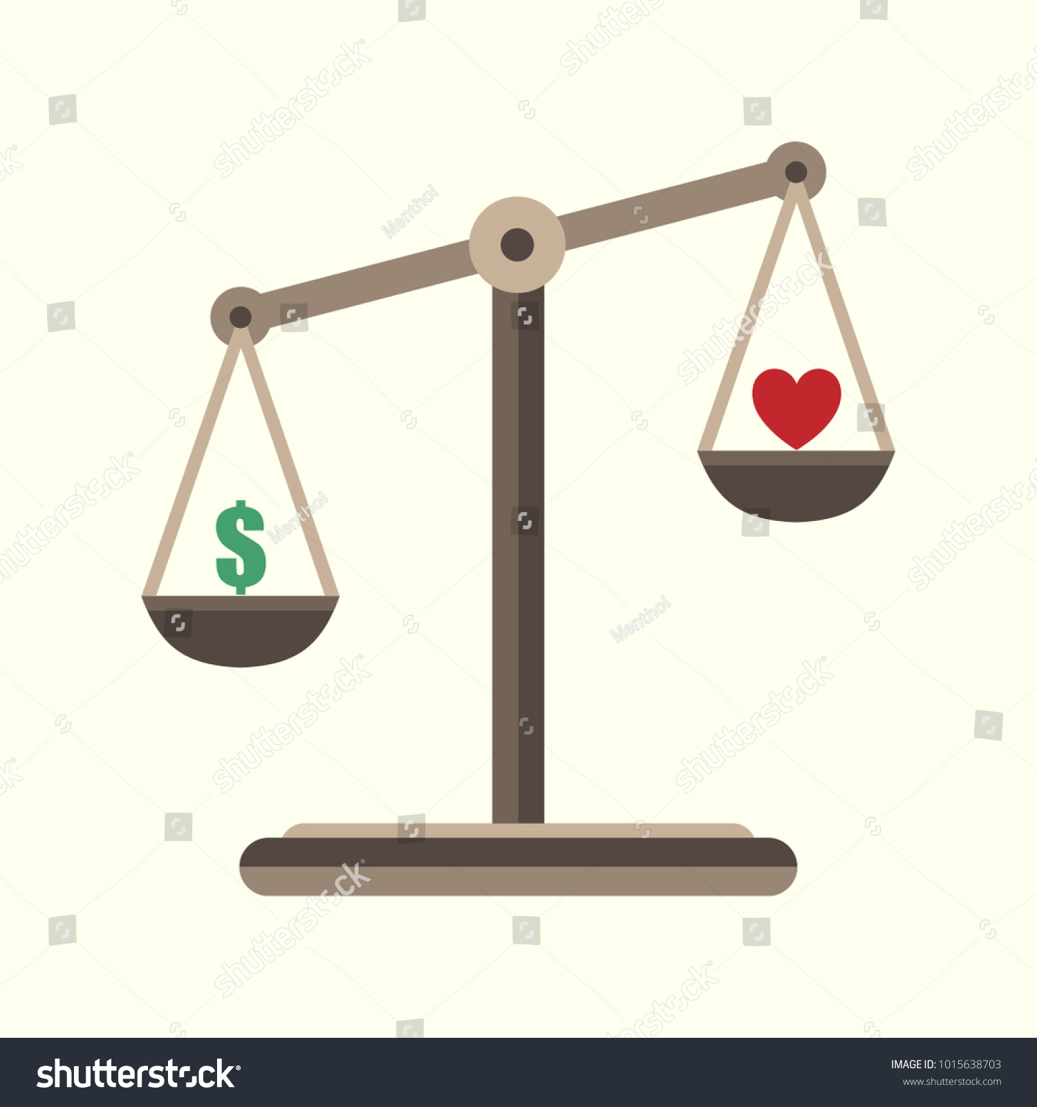 Scales justice icon money heart balance stock vector 1015638703 scales of justice icon money and heart in balance scales balance symbol money and biocorpaavc Images