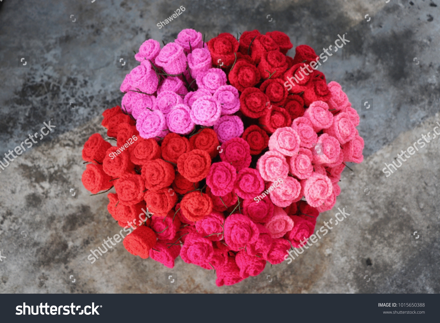 Bouquet colorful crochet roses on dirty stock photo edit now bouquet of colorful crochet roses on dirty cement floor handmade crochet flowers valentines day izmirmasajfo