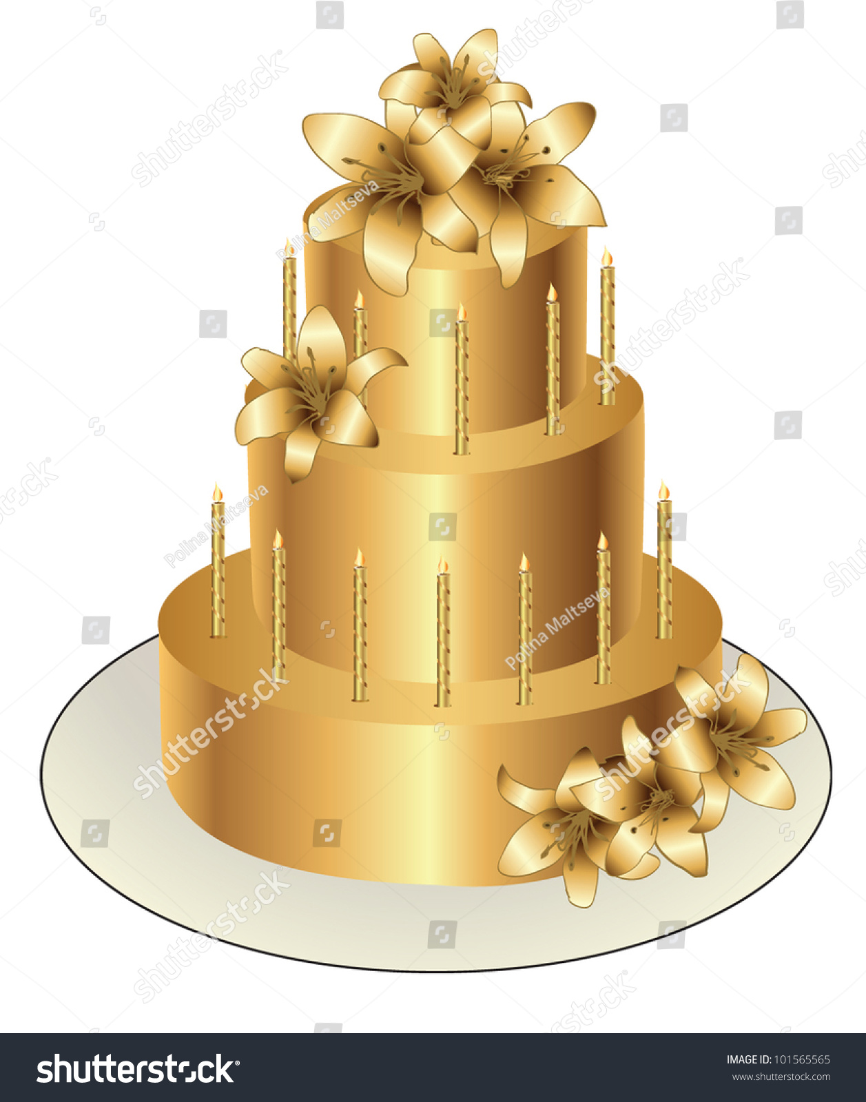 Gold Birthday Cake Vector Design Stock Vector 101565565