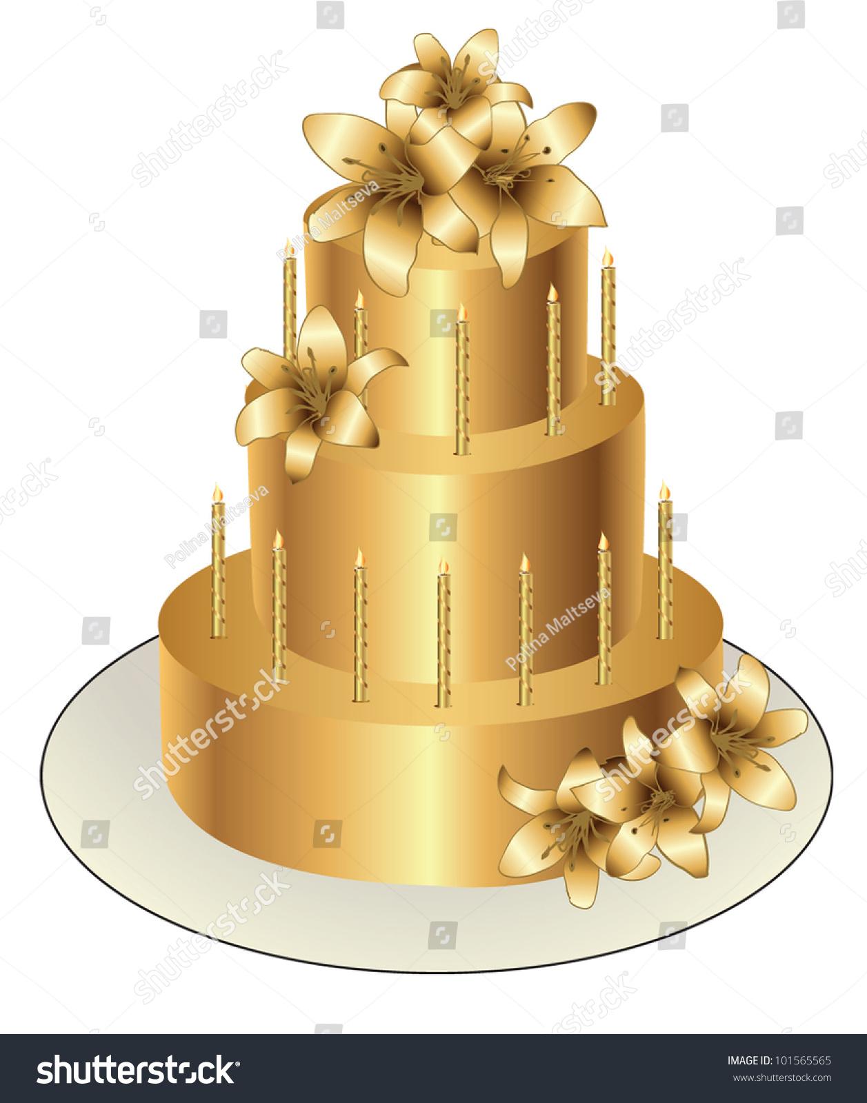 Gold Birthday Cake Vector Design Stock Vector Royalty Free