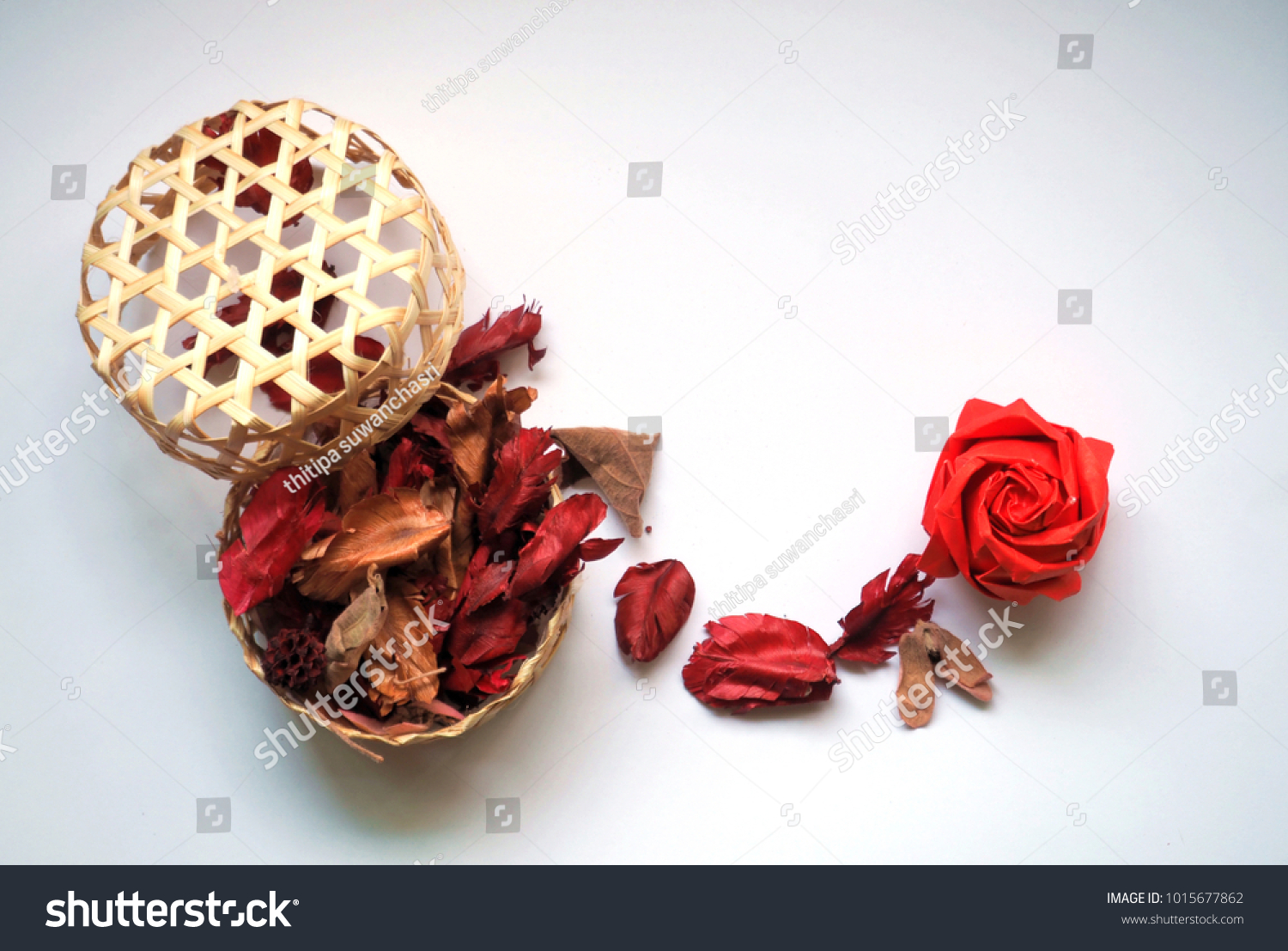 Red Origami Rose Dry Flower Spread Stock Photo Edit Now 1015677862