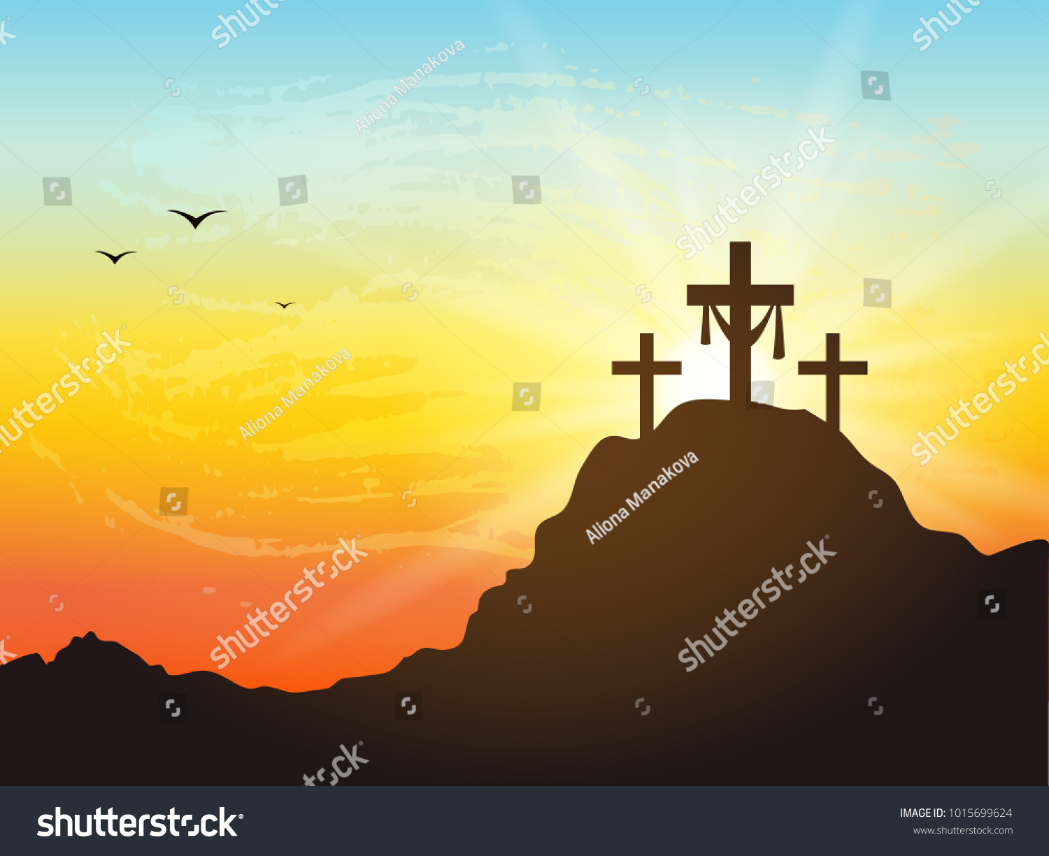 Calvary hill silhouettes cross cross symbol stock vector calvary hill with silhouettes of the cross cross symbol for jesus christ is risen buycottarizona Image collections