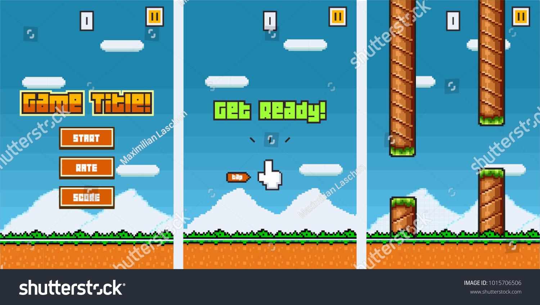 8 Bit Platformer Pixel Art Mobile Game Stock Vector 1015706506 ...