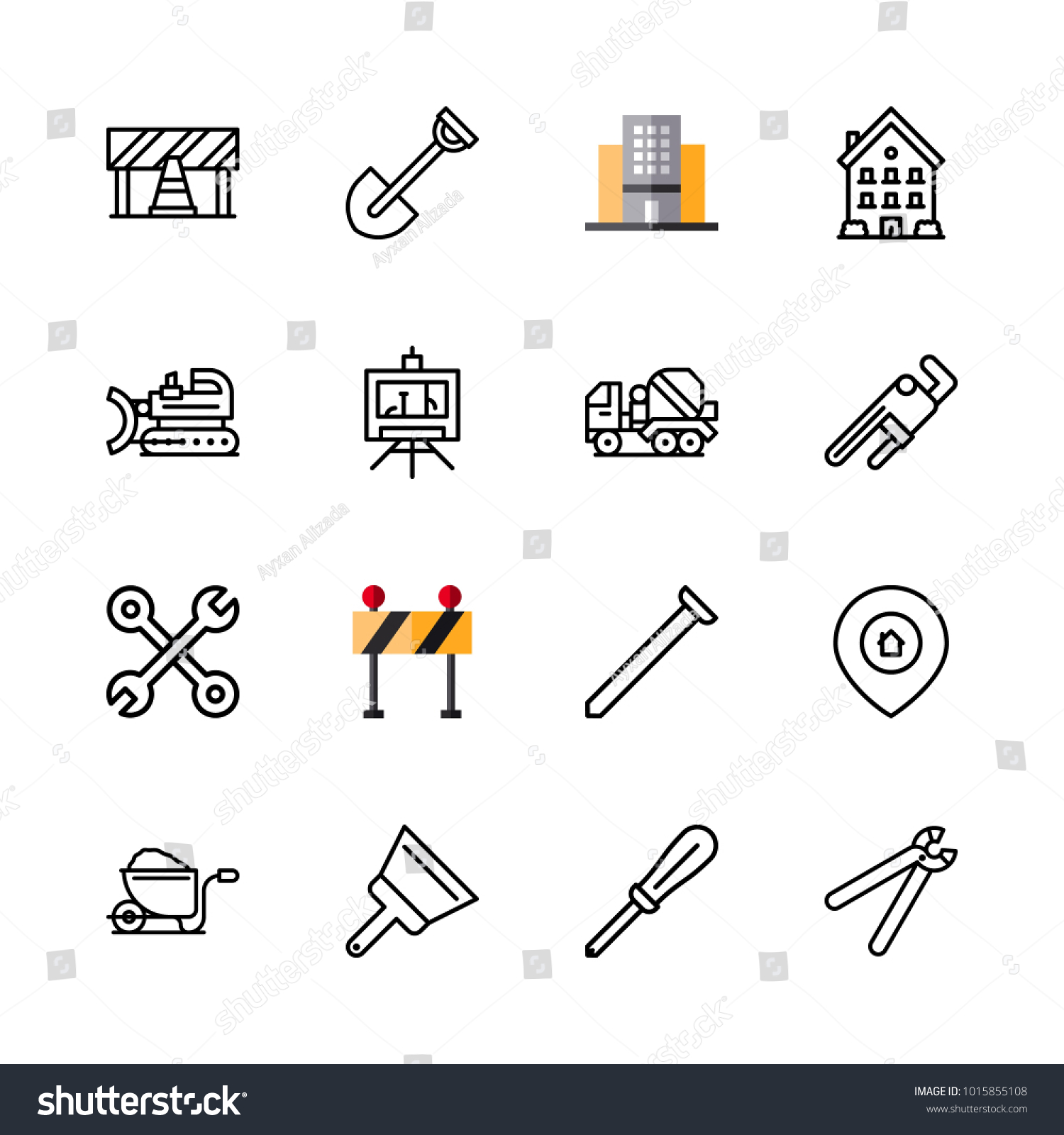Icons architecture vector blueprint nail building stock vector icons architecture vector blueprint nail and building malvernweather Gallery