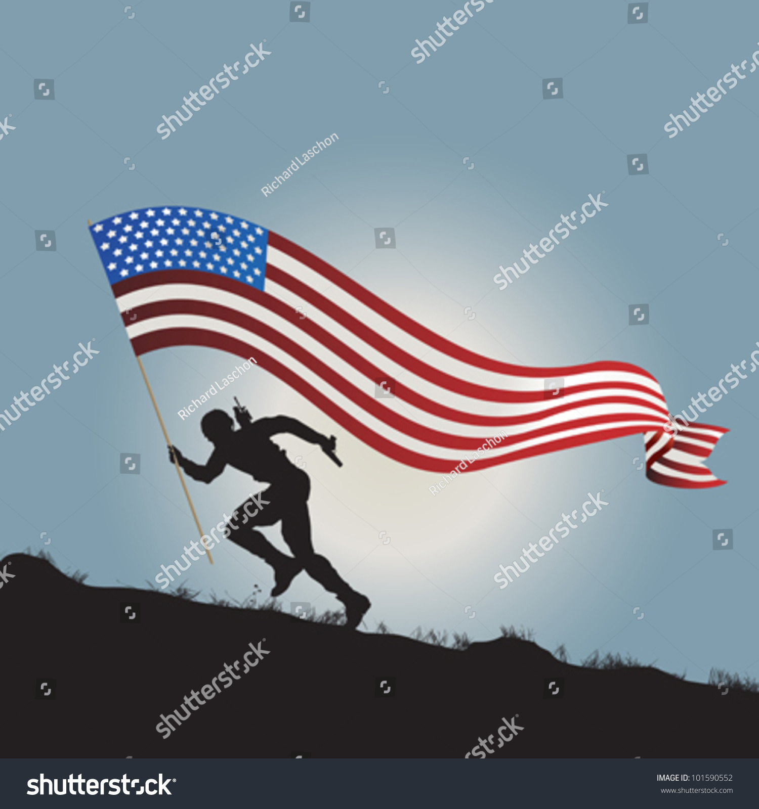 Running Horses Silhouette Wall Border Stock Vector Running Soldier Silhouette With Flag Of