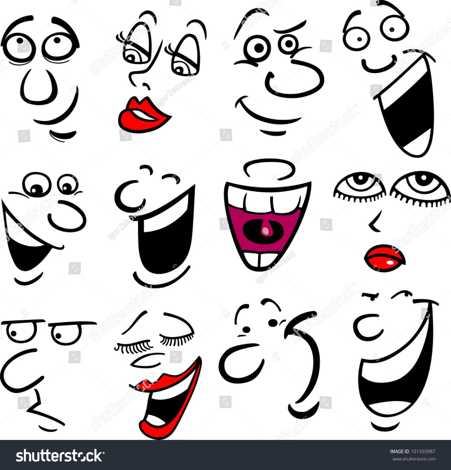 cartoon emotions faces comics humor shutterstock vector pic