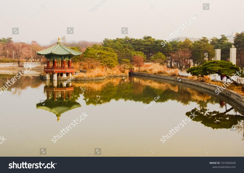 Cheongjajeong Pavilion Mirror Pond Garden Front Stock Photo (Edit ...