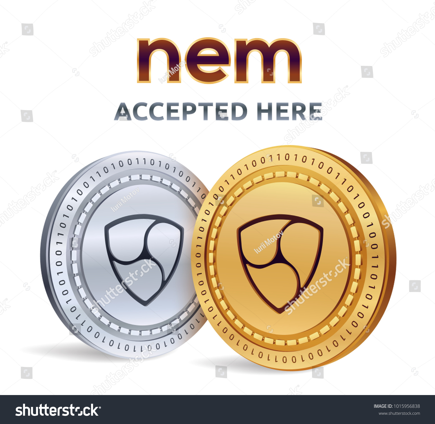 Nem Accepted Sign Emblem Crypto Currency Stock Vector Hd Royalty