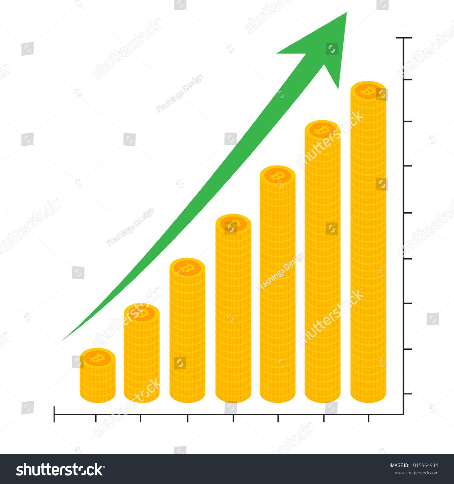 Cryptocurrency Growth Chart Graph Showing Bitcoin Stock Vector
