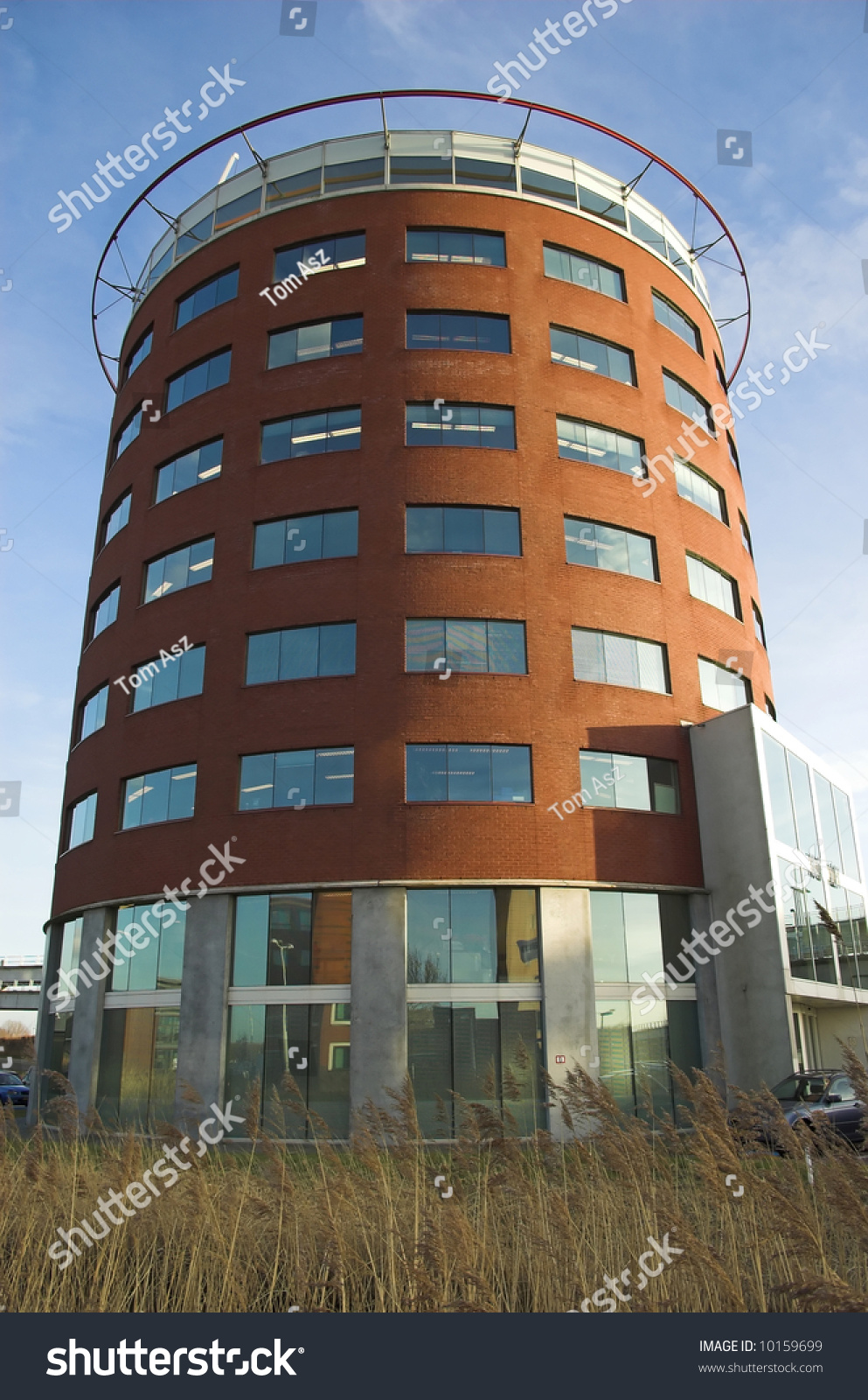 Modern Roundshaped Office Building Made Red Stock Photo 10159699 ...