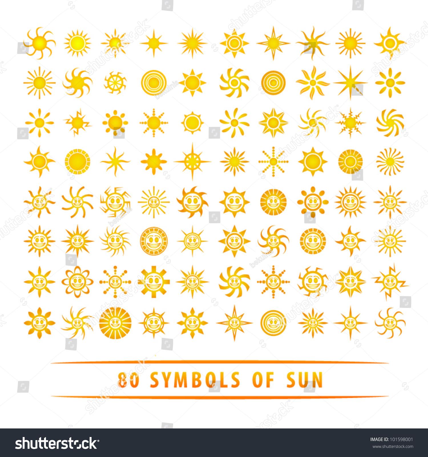 Huge Set Sun Symbols Stock Vector Royalty Free 101598001