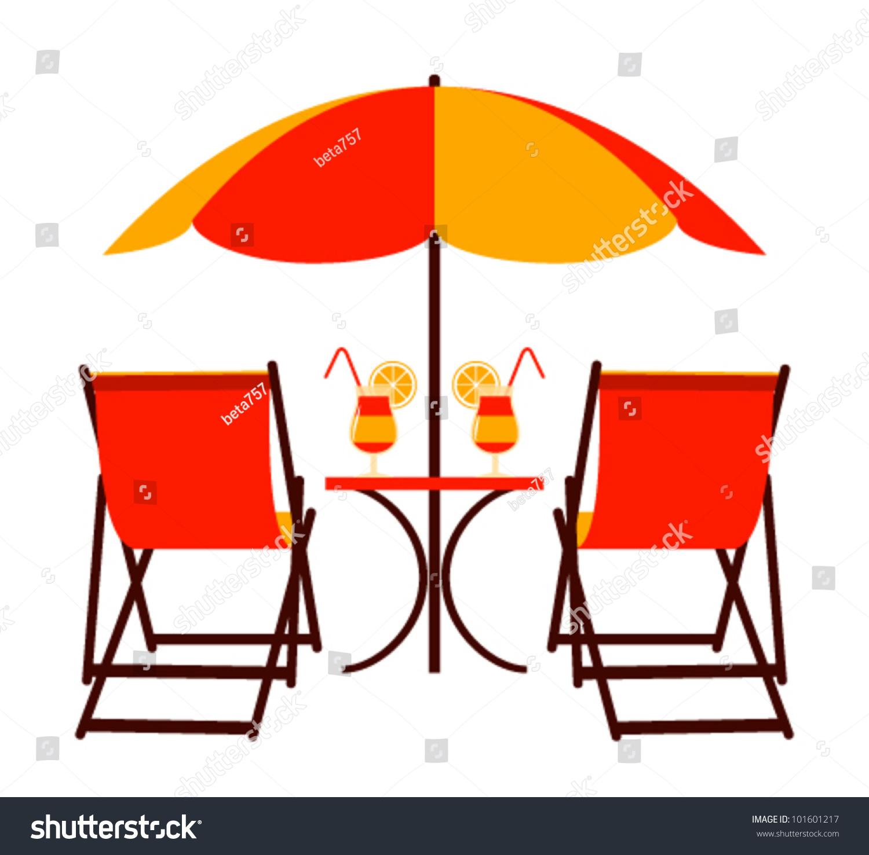 Vector Deck Chairs Under Beach Umbrella Stock Vector