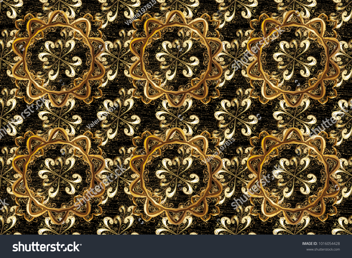 Traditional Raster Golden Pattern Classic Oriental Stock