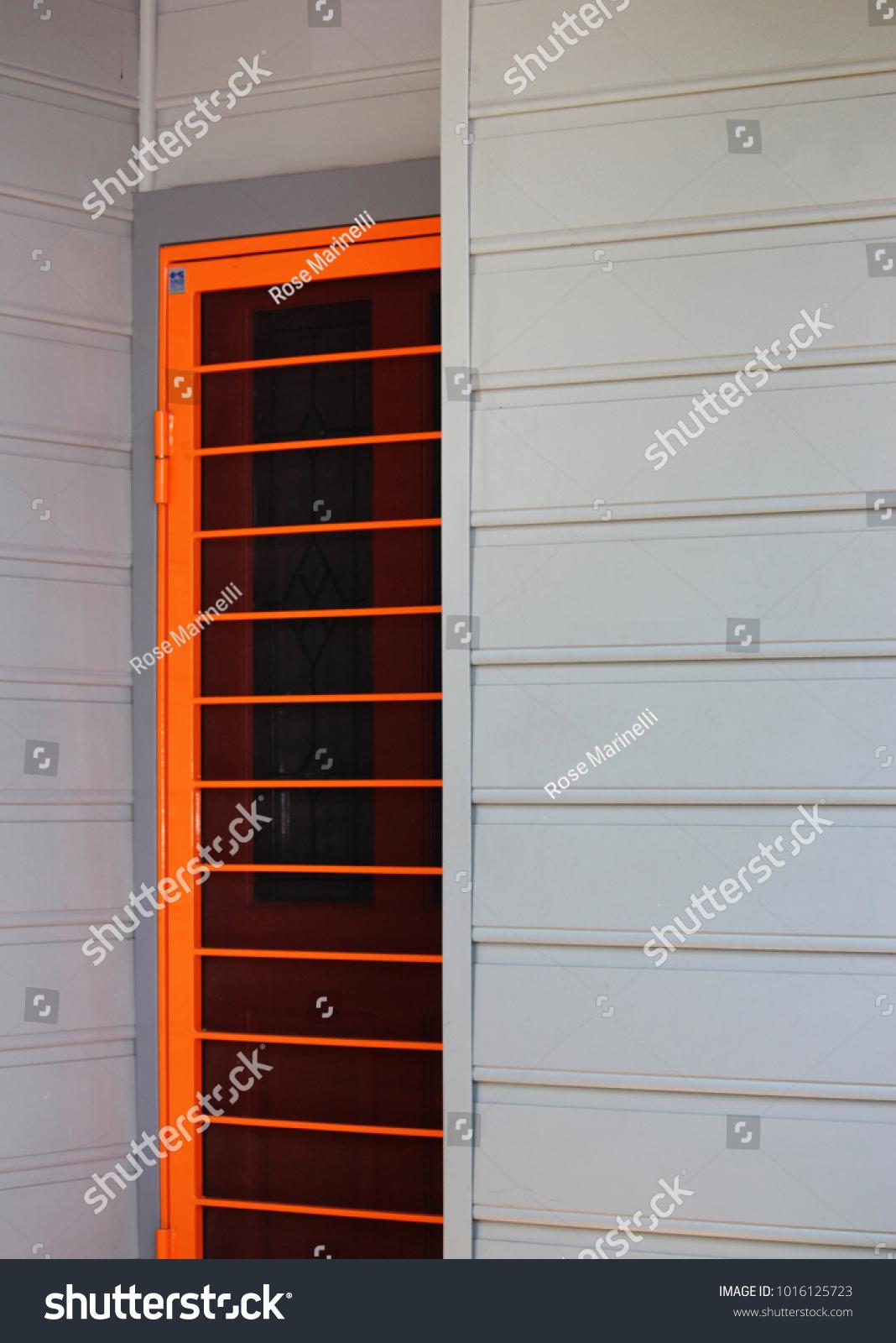Bright Orange Screen Security Door On Stock Photo Edit Now