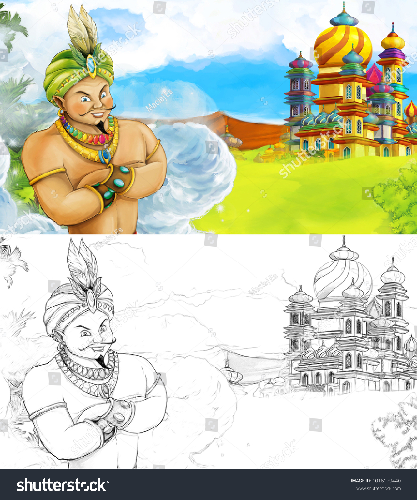 stock photo cartoon scene with happy king od prince near the castle looking around beautiful sunny day with