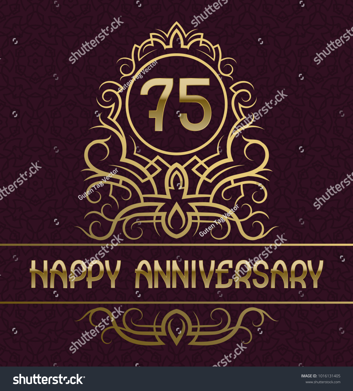 Happy Anniversary Greeting Card Template Seventy Stock Vector