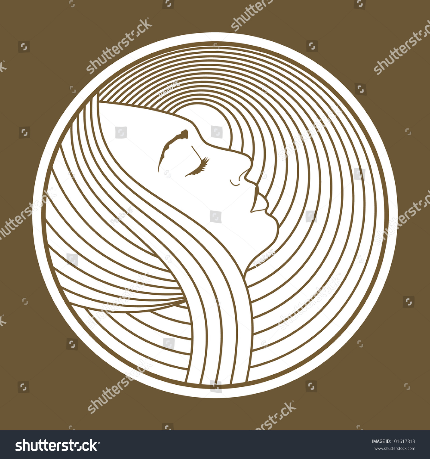 Art nouveau lady simple icon beautiful stock vector for Art nouveau shapes